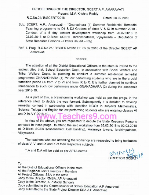 R.C.No.21 - Gnanadhara Summer Residential Remedial Teaching programme guidelines