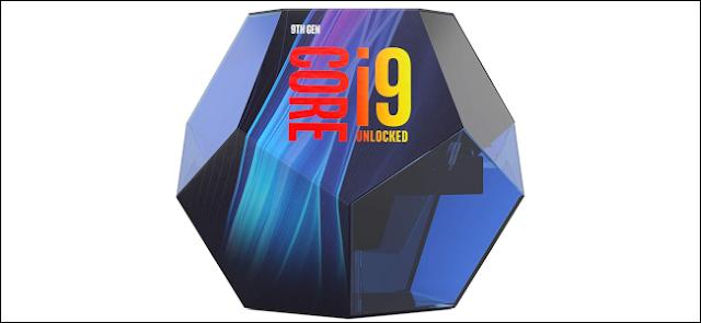 عبوة البيع بالتجزئة لوحدة المعالجة المركزية Intel i9-9900K.