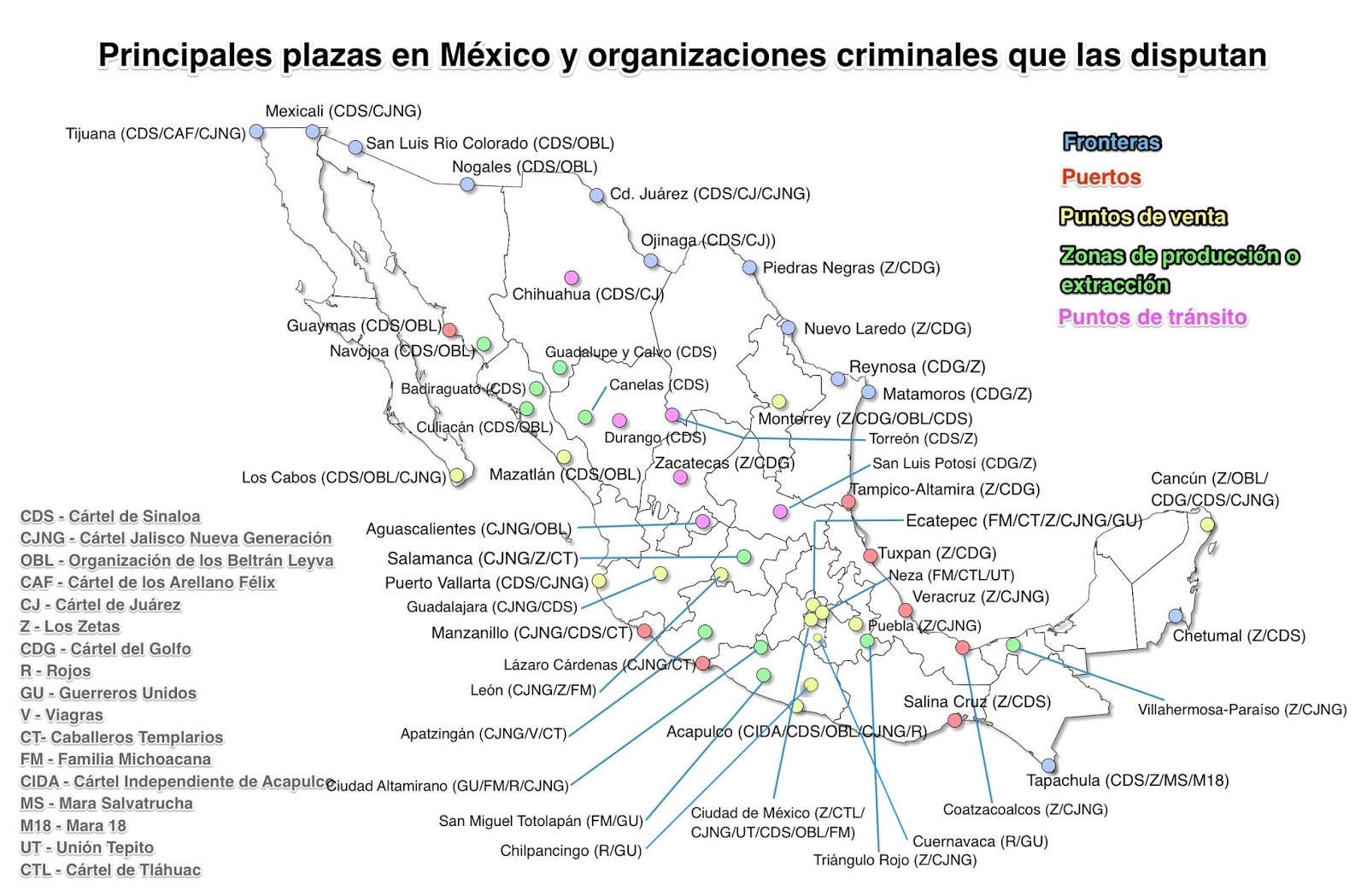 Plazas of organized crime narco plaza map