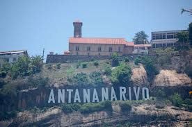 Antananarivo sign on hillside