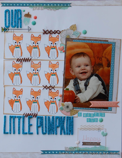 Fall Scrapbook Layout by Sara Scraps for Jess Crafts Digitals