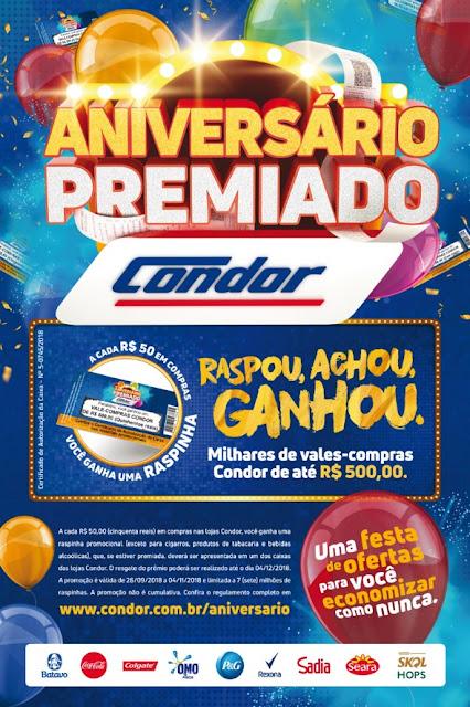Condor comemora 44 anos com meio milhão de reais em raspinhas premiadas