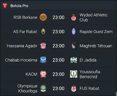 Matchs de la BOTOLA Pro de Maroc Télécom en direct