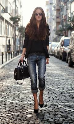 Уличная мода джинсы с жакетом