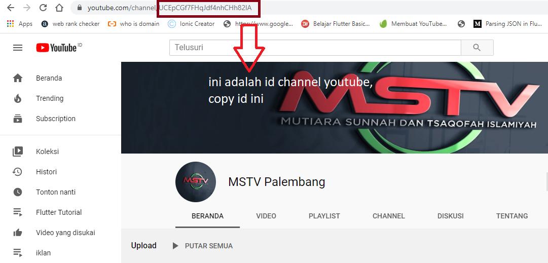 sahretech - menyalin id youtube channel