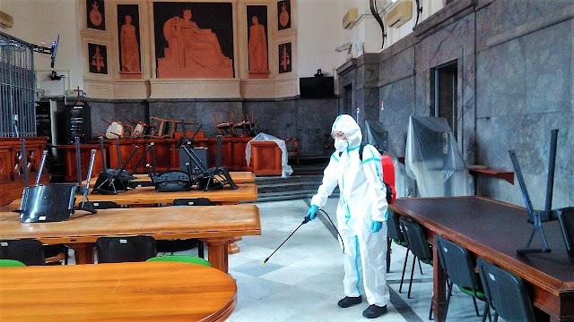 COVID-19. L'Esercito igienizza gli Uffici giudiziari di Messina