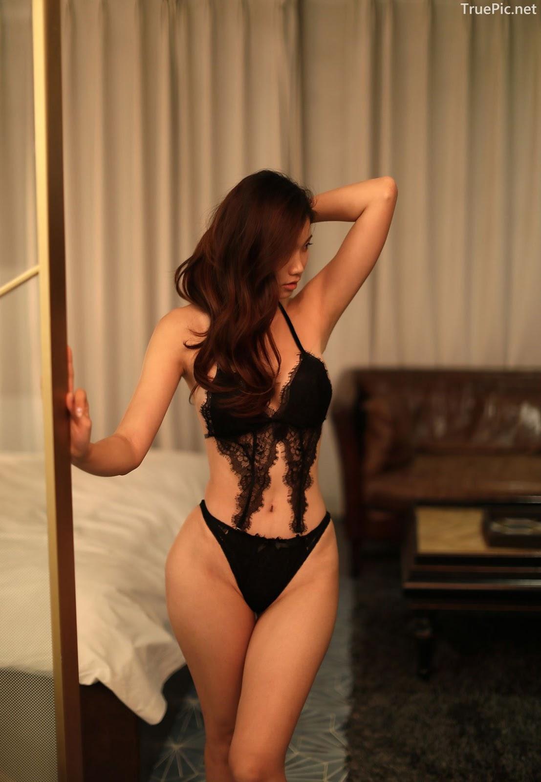 Lee Hee Eun - Bohemian lace black lingerie - Korean model and fashion - Picture 7