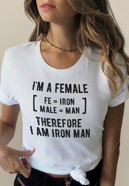 Female equals Iron Man.  PYGear.com
