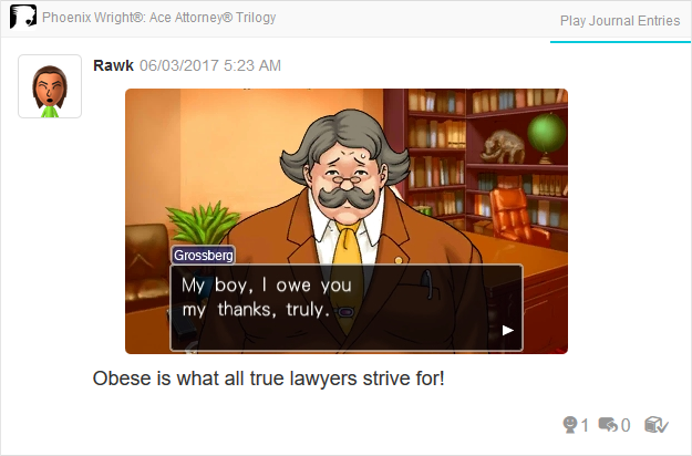 Marvin Grossberg King Harkinian Phoenix Wright Ace Attorney Trilogy 3DS Miiverse Capcom Nintendo