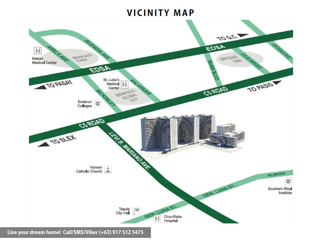 Vicinity Map - SMDC Grace Residences - 1 Bedroom Deluxe With Balcony | Condominium for Sale Taguig