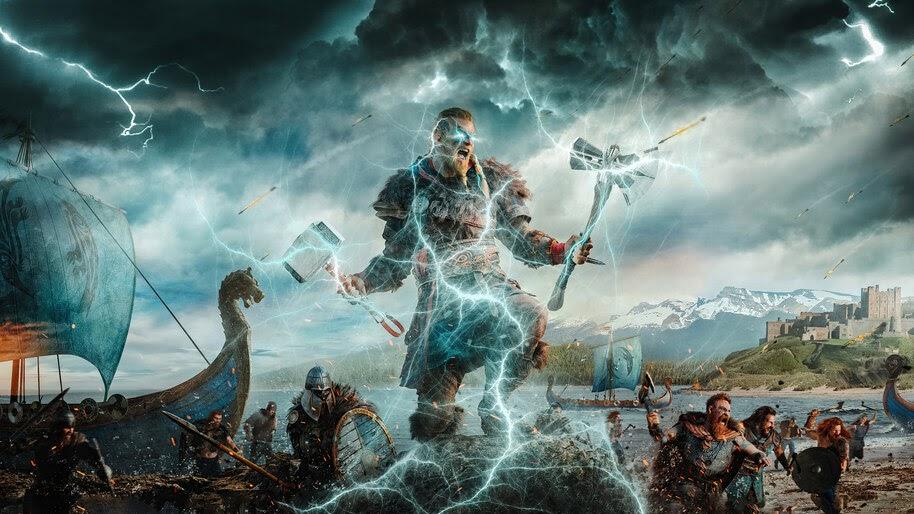 Eivor, AC Valhalla, Axe, Hammer, Lightning, 4K, #7.2141