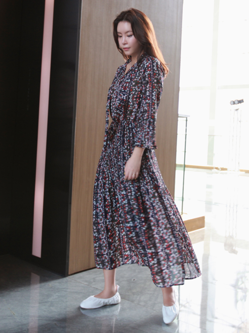 Tie Neck Floral Maxi Dress