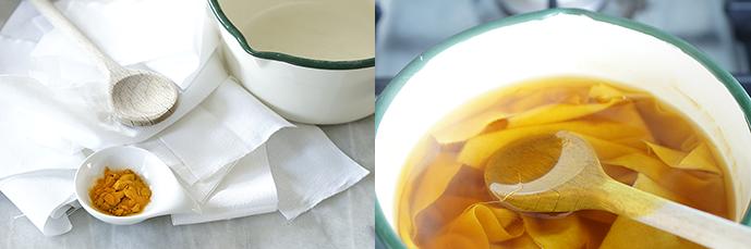 Materialien zum Stofffärben, Topf mit gelben Färbersud