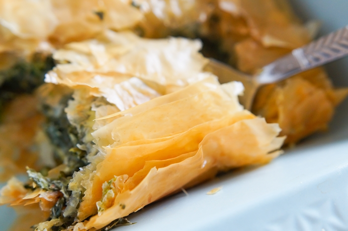 spinach pie with phyllo...perfect meatless meal for Lent!