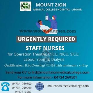 Mount Zion Medical College Hospital - Adoor Staff Nurse Recruitment