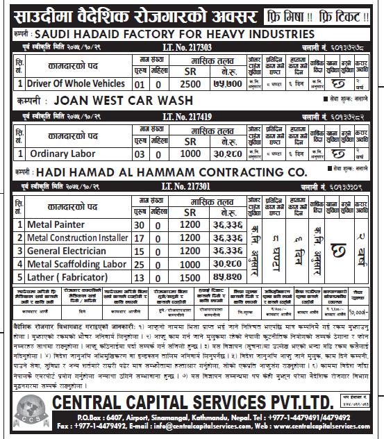 Jobs in Saudi Arabia for Nepali, Salary Rs 75,700