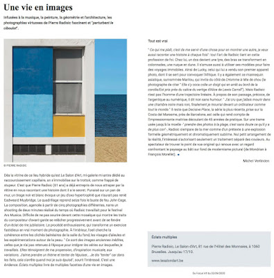article de michel verlinden à propos de l'exposition de pierre radisic au salon d'art dans focus vif du mercredi 3 septembre 2020