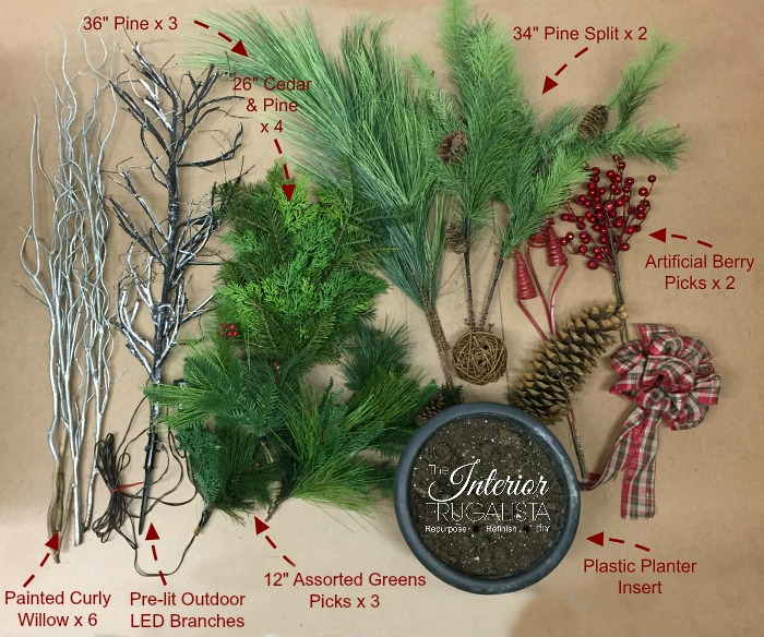 Materials For Outdoor Christmas Planters with faux greens