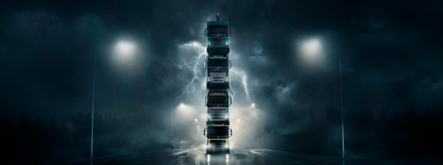 Volvo Launches Four New Trucks by Stacking Them on Top of Each Other in Spectacular Film