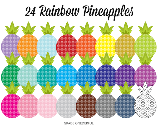 Pineapple Clip Art in ALL the Colours!