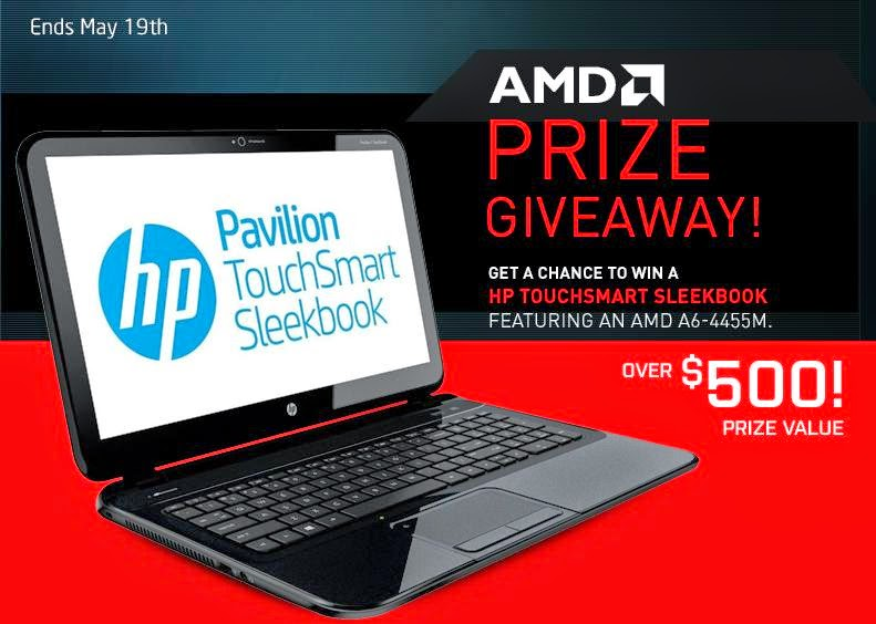 AMD/HP Laptop Giveaway. Ends 5/19.