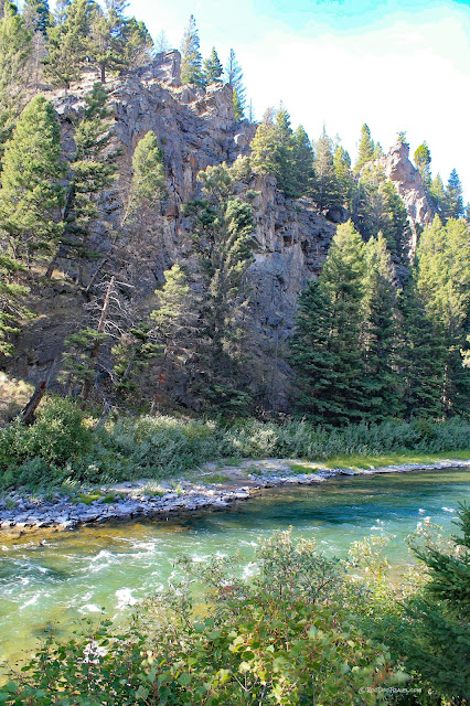 Gallatin River canyon Montana geology river rafting rocks Yellowstone National Park copyright RocDocTravel.com