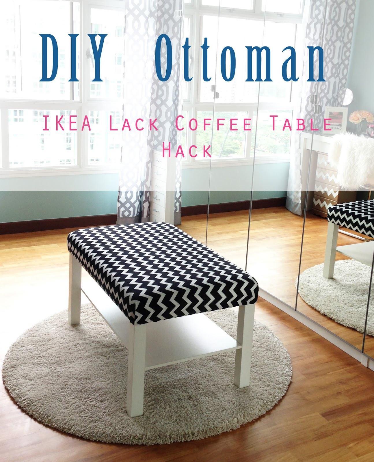 home style organize diy ottoman ikea lack coffee table hack. Black Bedroom Furniture Sets. Home Design Ideas