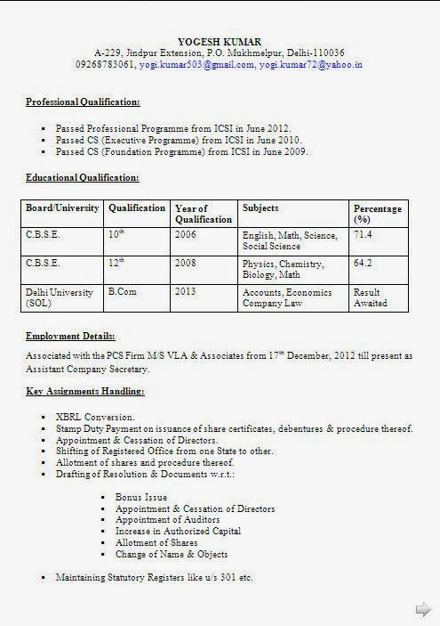 Company Resume Format Resume Sample