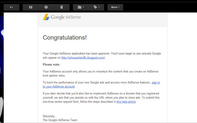 Your Adsense Application Has Been Approved