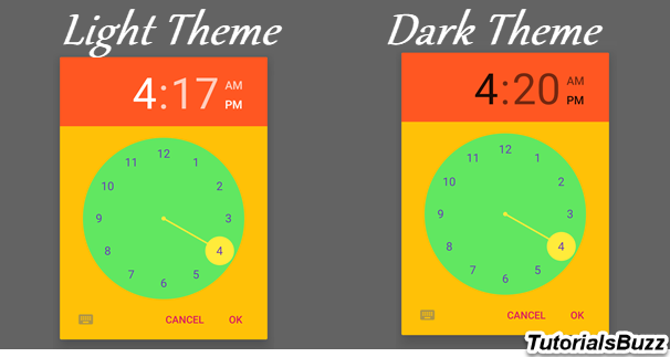 Android TimePicker Dialog Dark Theme
