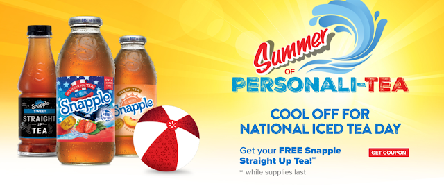 Snapple Straight Up Tea, 18.5 oz bottle, FREE (Up to $1.00) (Redeemable at Walmart) Print [sipyoursummer.com]