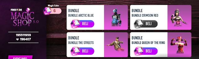Cara Mendapatkan Bundle Arctic Blue FF dan Crimson Red Magic Shop 3.0
