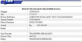 contoh bukti transfer klik bca