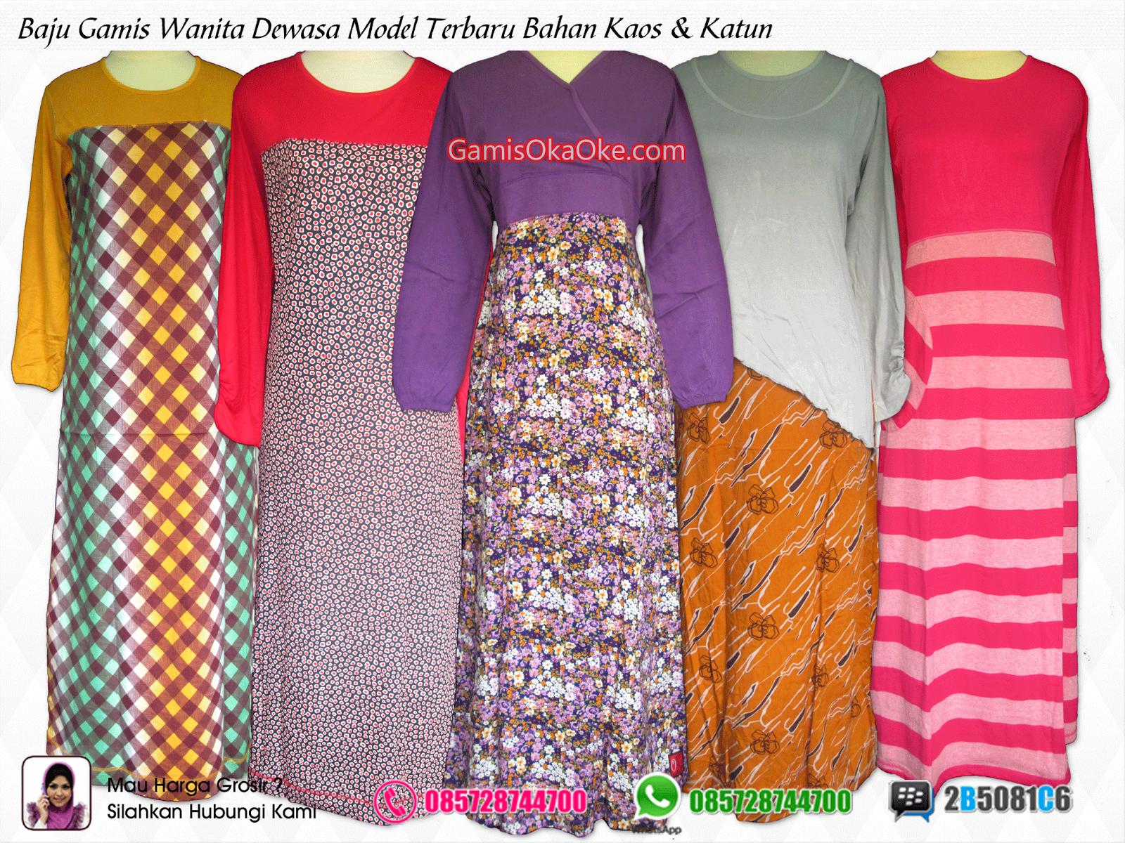 Grosir baju gamis wanita dewasa modern model terbrau harga murah bahan kaos dan katun berkualitas bagus.
