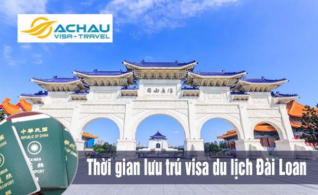 Thời gian lưu trú của visa du lịch Đài Loan tháng 8/2018