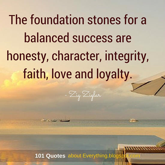 Faith And Love Quotes Adorable The Foundation Stones For A Balanced Success Are Honesty Character