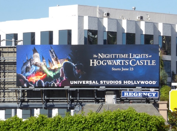 Nighttime Lights Hogwarts Castle Universal billboard