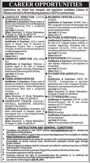 www.pakistancsc.org Jobs 2021 -  CSCP Community Sports Council Pakistan Jobs 2021 in Pakistan
