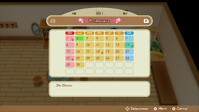 calendario - Story of Seasons: Friends of Mineral Town