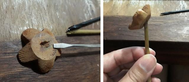 Coisicas Artesanais - Simone dos Santos - Flor de madeira no palito para aromatizante