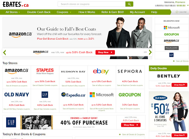Save money and get cash back with ebates!