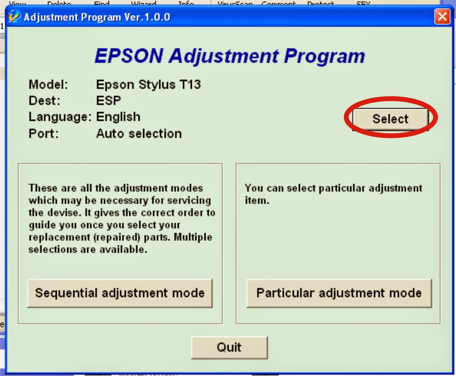 Cara Reset Printer EPson T13