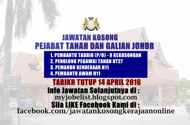 Cari Kerja Jawatan Kosong Di Pejabat Tanah Dan Galian Johor 14 April 2016 Diriku Adalah Gadis Evo
