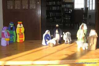 the full scene of Jean Greenhowe's knitted nativity set, completed earlier in the year