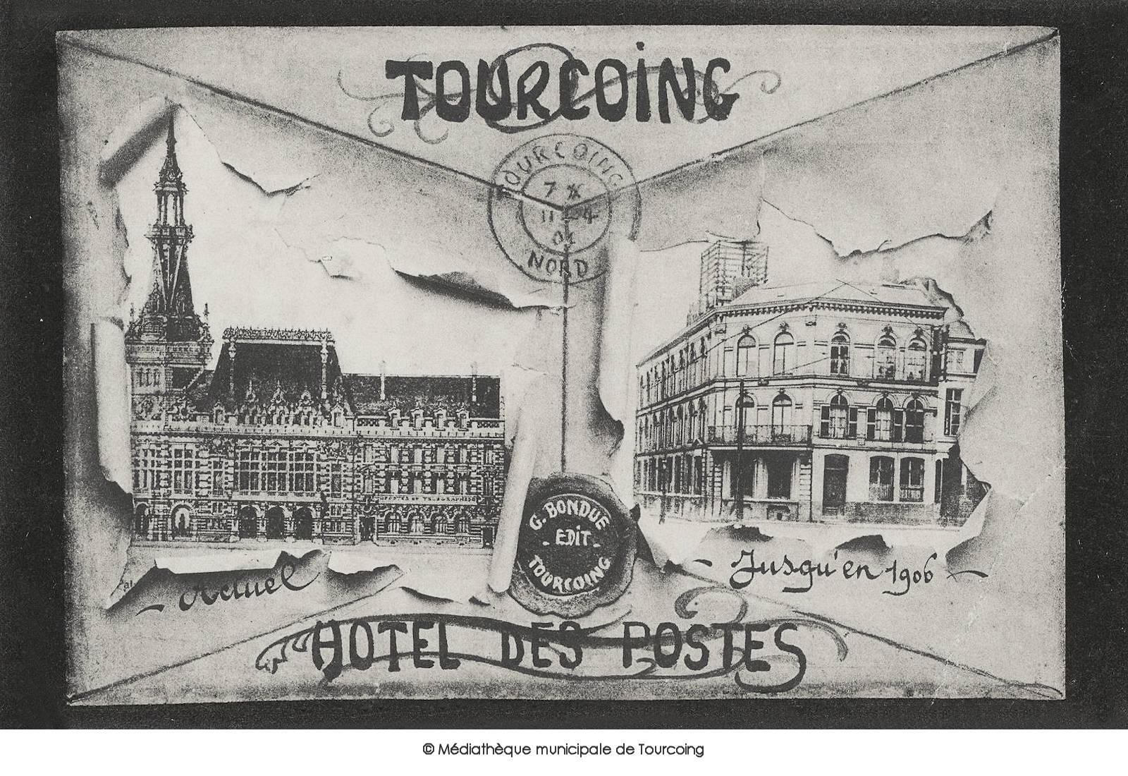 Carte postale ancienne - Hôtel des Postes Tourcoing
