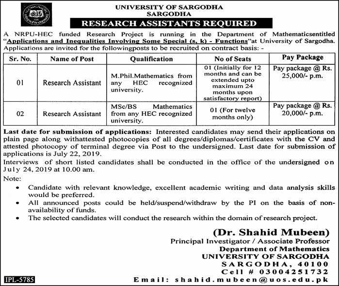 Jobs in University of Sargodha 28 June 2019