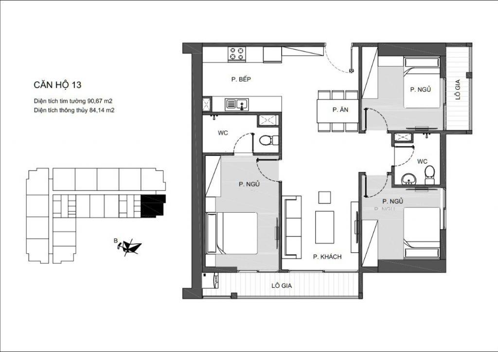 Mã căn 13 - Thiết kế căn hộ chung cư An Bình Plaza