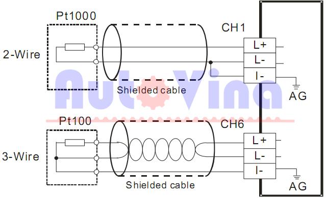 Sơ đồ đấu nối tín hiệu analog từ cảm biến nhiệt về Module DVP04PT-S