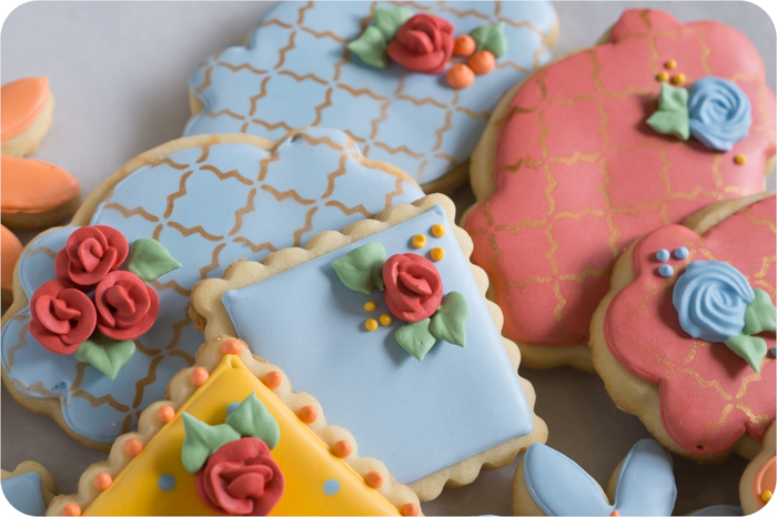 airbrushed floral decorated cookies