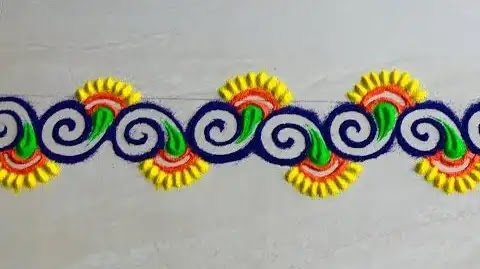 Border rangoli you can make with fingers